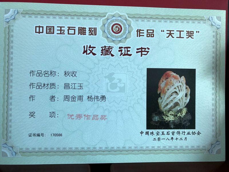 杨伟勇获得《秋收》收藏证书1.jpg